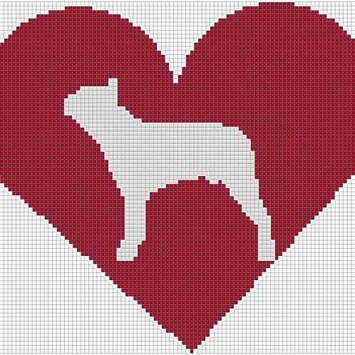 Boston Terrier in Heart cross stitch