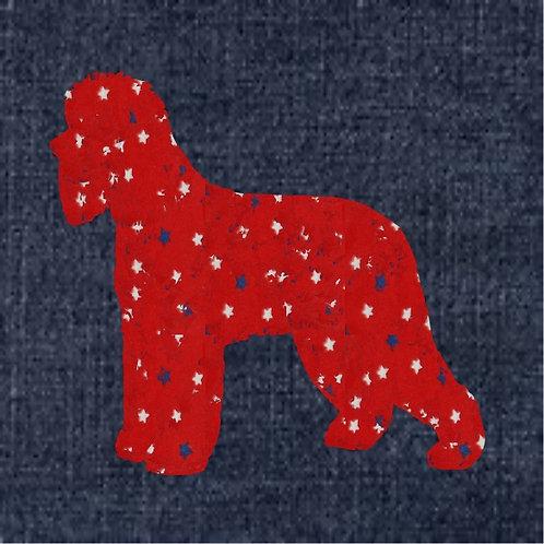 Irish Water Spaniel Applique Patriotic Pillow