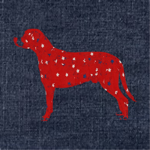 Greater Swiss Mountain Dog Applique Patriotic Pillow