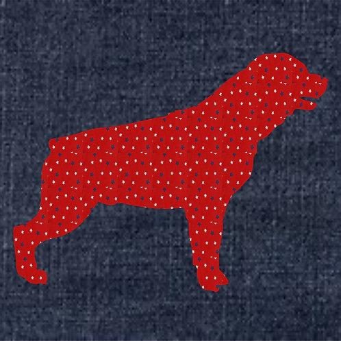 Rottweiler Applique Patriotic Pillow