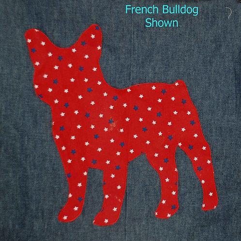 French Bulldog Applique Patriotic Pillow