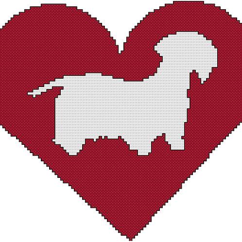 Cesky Terrier in Heart cross stitch