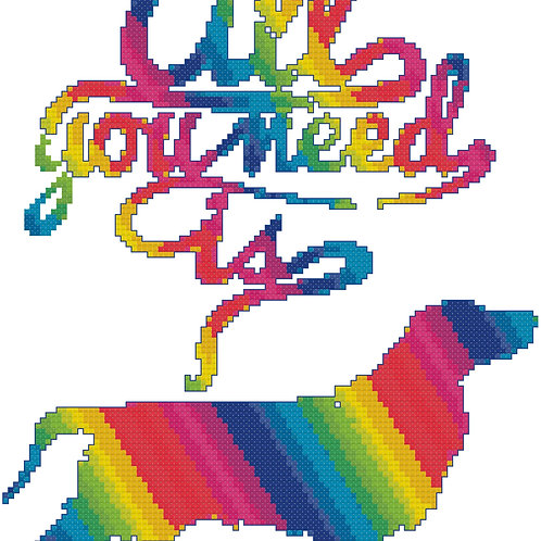 All You Need is....Spaniel cross stitch
