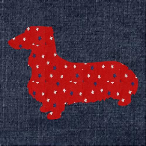 Dachshund Applique Patriotic Pillow