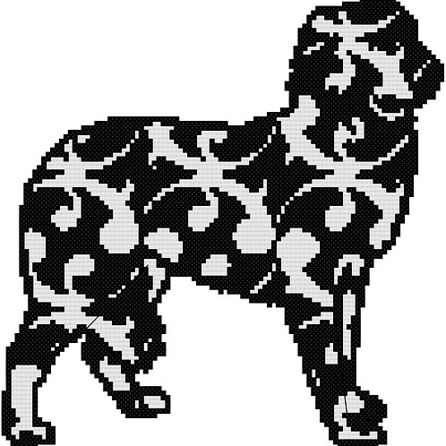 Abruzzenhund/Maremma Modern Black Cross Stitch