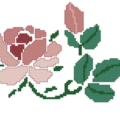 Single Pink Rose cross stitch