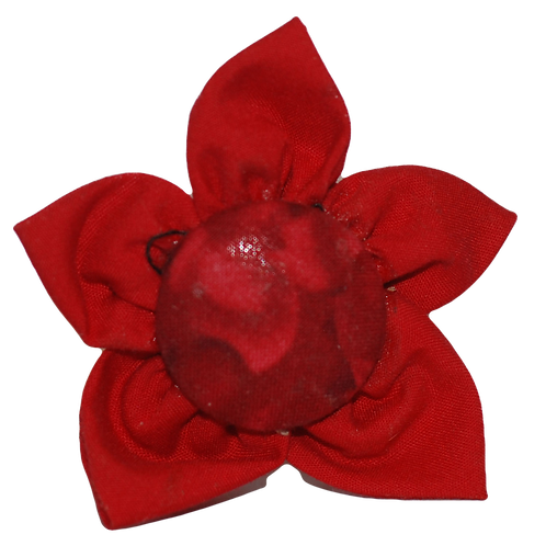 Folded Fabric Flower in Red