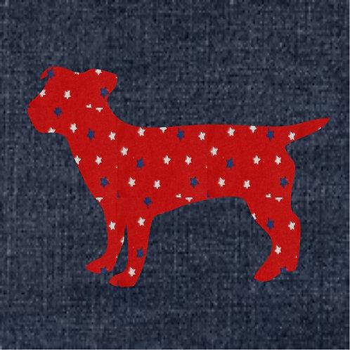 Jack Russell Terrier Applique Patriotic Pillow