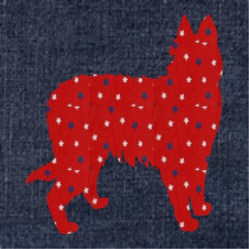Pyrenean Shepherd Applique Patriotic Pillow