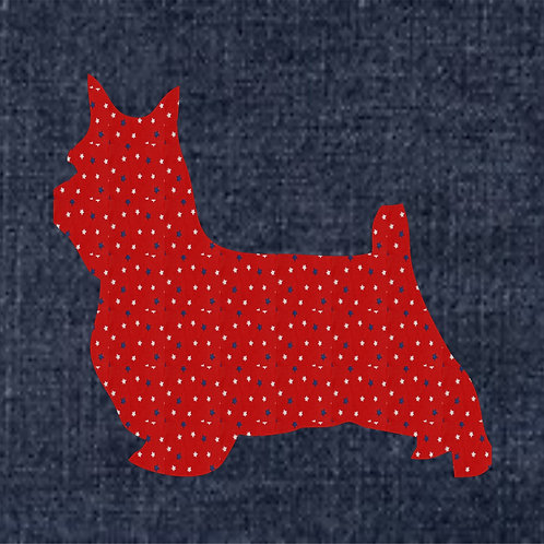 Silky Terrier Applique Patriotic Pillow