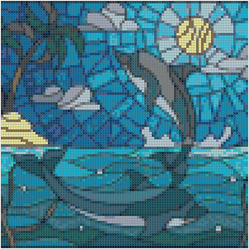 Stained Glass Dolphins