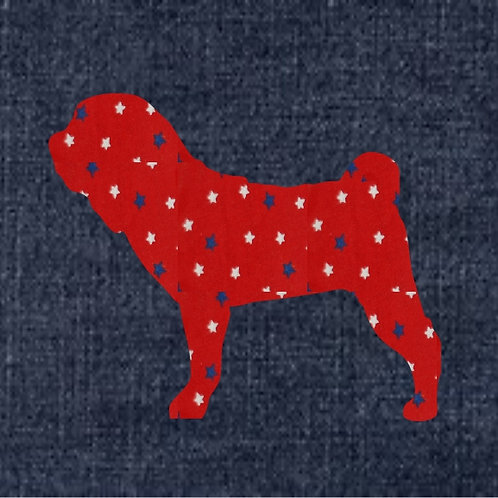 Chinese Shar Pei Applique Patriotic Pillow