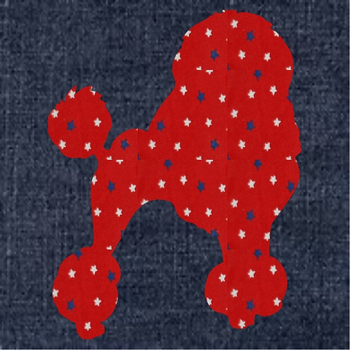 Poodle Show Cut Applique Patriotic Pillow