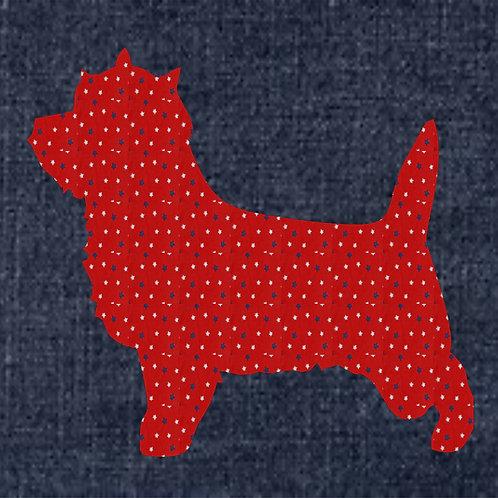 Cairn Terrier Applique Patriotic Pillow