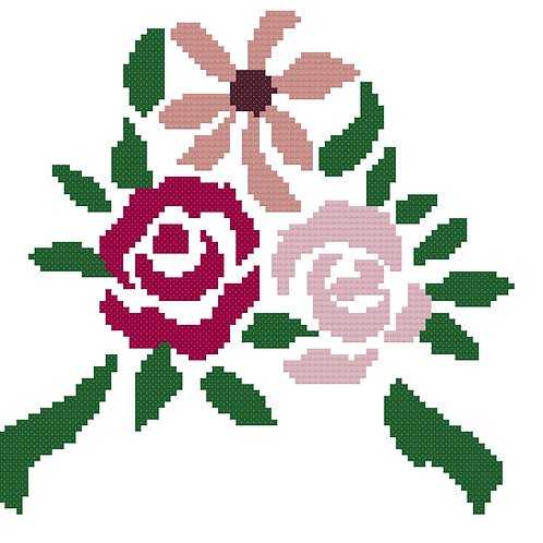 Simple Rose Cross Stitch Pattern