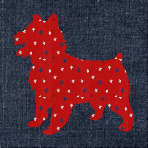 Australian Terrier Applique Patriotic Pillow