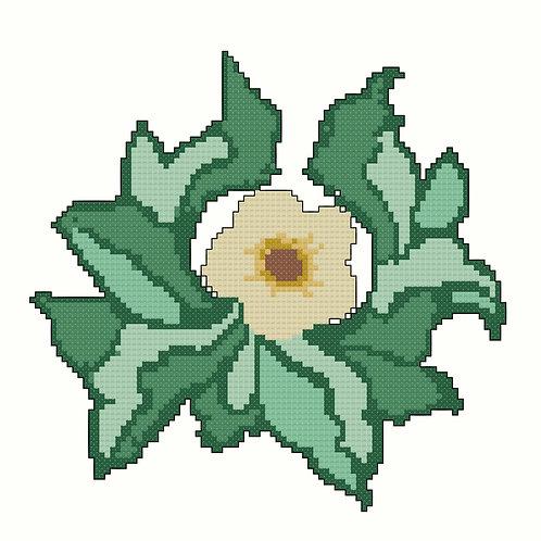 Flower Nestled in Leaves