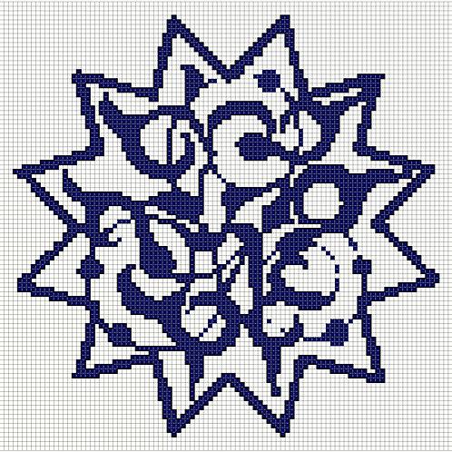Arabic Motif in Blue Cross Stitch