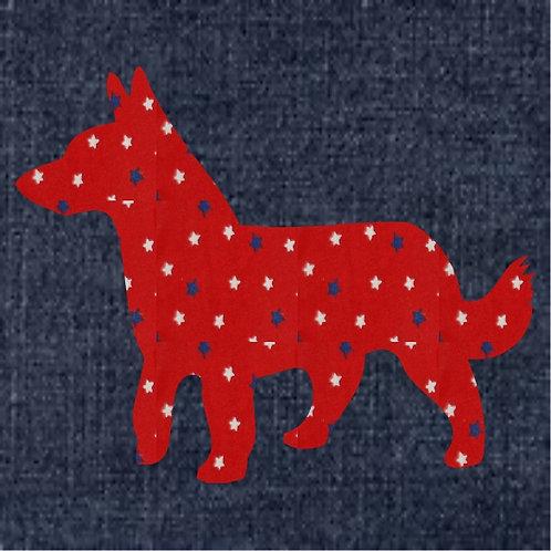 Lancashire Heeler Applique Patriotic Pillow