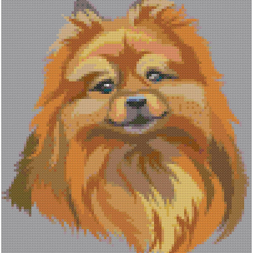 Pomeranian Portrait cross stitch