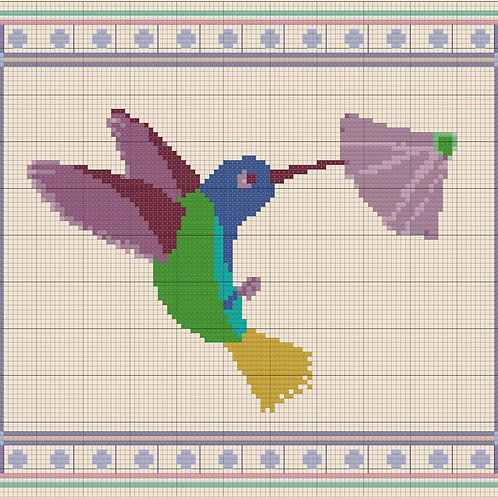 Hummingbird with Border cross stitch