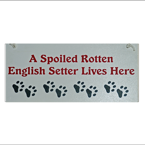 English Setter, A Spoiled Rotten......Lives Here Sign