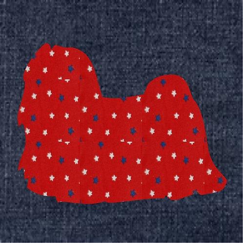 Maltese Applique Patriotic Pillow