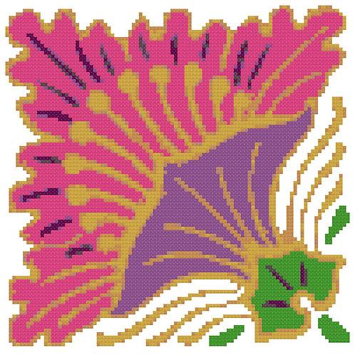 Bold Purple and Orange Flower  cross stitch