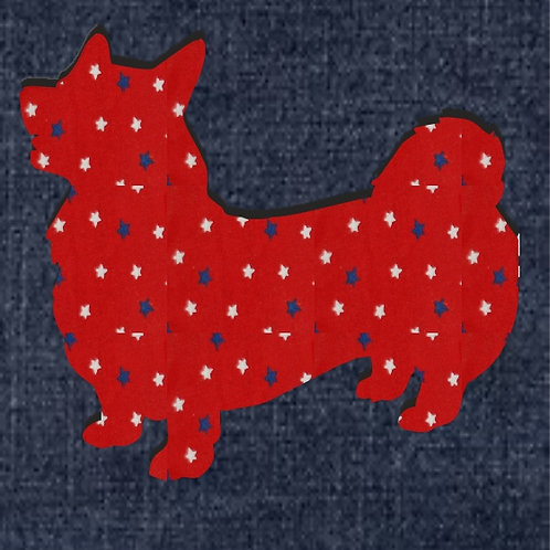 Welsh Pembroke Corgi Applique Patriotic Pillow