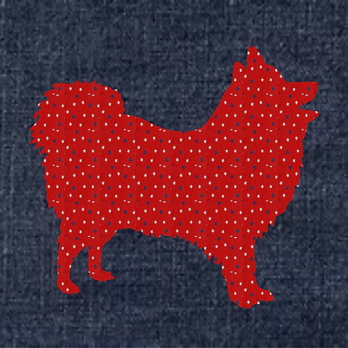 Japanese Spitz Applique Patriotic Pillow