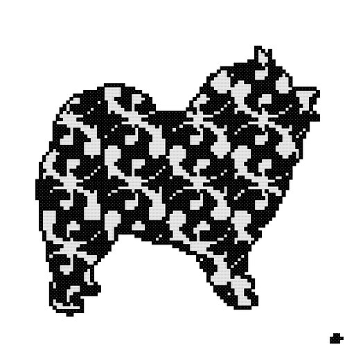 Keeshond in Modern Black Cross Stitch cross stitch