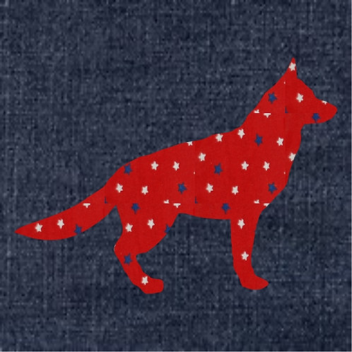 German Shepherd Applique Patriotic Pillow