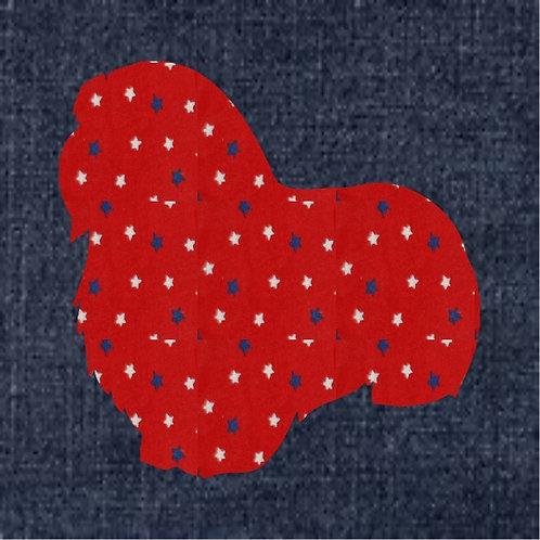 Coton Du Tulear Applique Patriotic Pillow