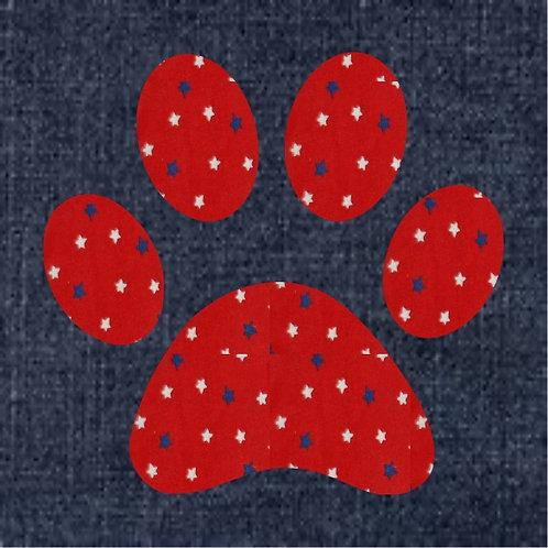 Pawprint Applique Patriotic Pillow