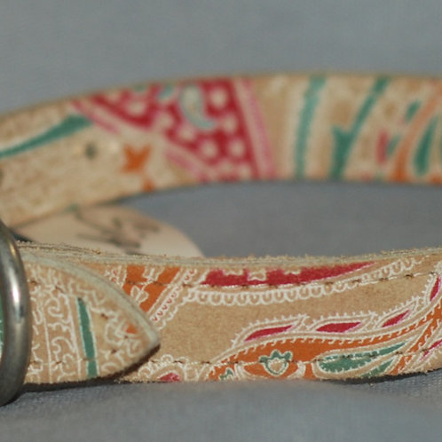 Leather Brothers Paisley Faux Suede Collar for Medium Size Dog