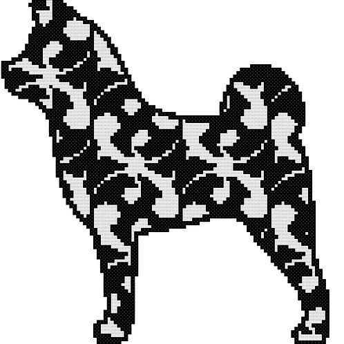 Akita in Modern Black cross stitch