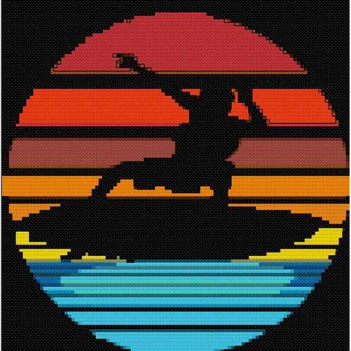 Surfboarder Silhouette cross stitch
