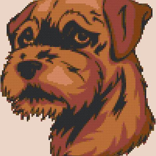 Border Terrier Dog Portrait Cross Stitch Pattern
