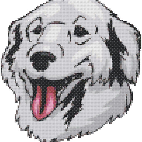Kuvasz Portrait cross stitch