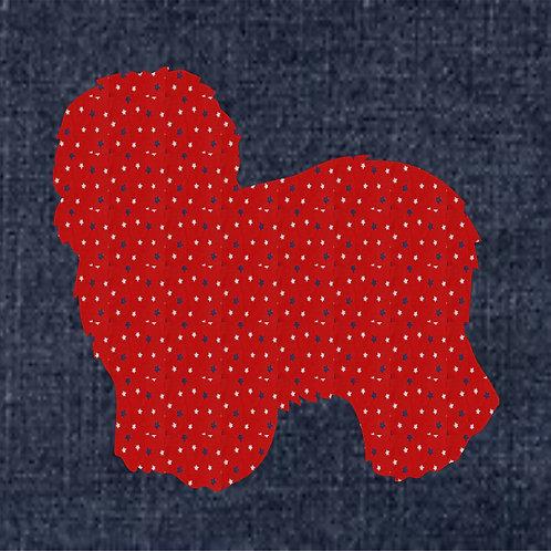 Old English Sheepdog Applique Patriotic Pillow