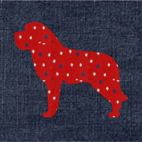 Saint Bernard Applique Patriotic Pillow