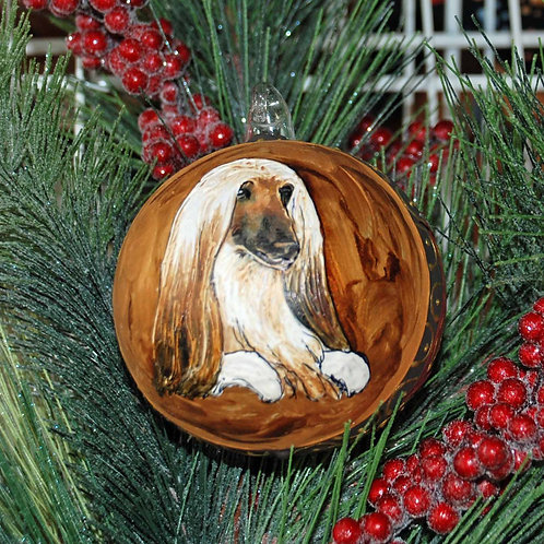 Afghan Hound Hand Painted Dog Glass Christmas Ornament