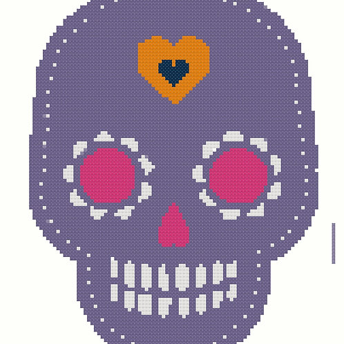 Day of the Dead Skull in Purple cross stitch
