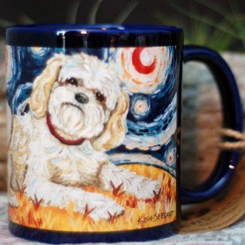 Shih Tzu, Blonde, Starry Night Mug