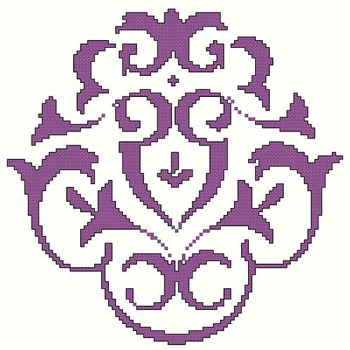 Arabic Floral Motif in Purple