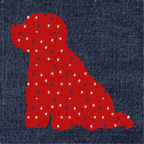 Bichon Frise Applique Patriotic Pillow