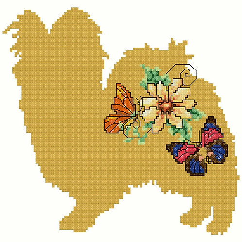 Gold Papillon with Flowers