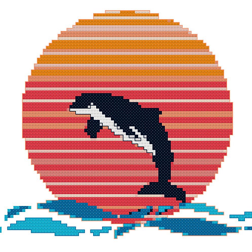 Leaping Orca Cross Stitch Pattern