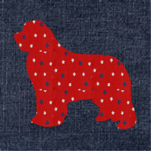 Newfoundland Applique Patriotic Pillow