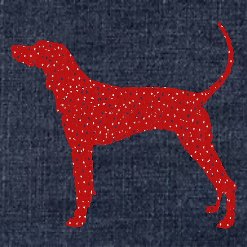 American English Coonhound Applique Patriotic Pillow